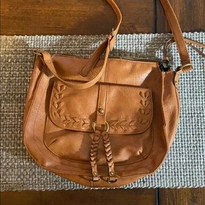 Faux leather tan crossbody bag